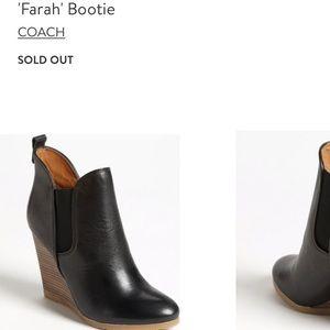 COACH Farah black leather wedge booties
